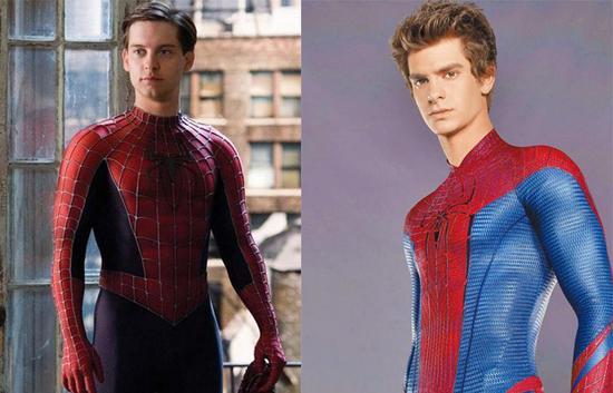 由托比·马奎尔和安德鲁·加菲尔德饰演的前两版蜘蛛侠